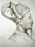Emperor Tự Đức (22 September 1829 – 17 July 1883) (full name: Nguyễn Phúc Hồng Nhậm, also Nguyen Phuc Thi) was the fourth emperor of the Nguyễn Dynasty of Vietnam and reigned from 1847–1883.<br/><br/>  The son of Emperor Thiệu Trị, Prince Nguyễn Phúc Hồng Nhậm succeeded his father with the reigning title of Tự Đức, but family troubles caused his era to have a violent start. Thiệu Trị had passed over his more moderate eldest son, Hồng Bảo, to give the throne to Tự Đức, known for his staunch Confucianism and opposition to foreigners and innovation. As a result, and due to the repressive policies of the previous Nguyễn Dynasty emperor, there was now a great deal of dissatisfaction with Nguyễn rule and a legitimate royal figure to rally this opposition.