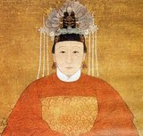 Madame Zhu, a Chinese lady of rank, wearing official robes of the civil 8th rank with an oriole bird. Ming Dynasty (1368-1644) portrait.